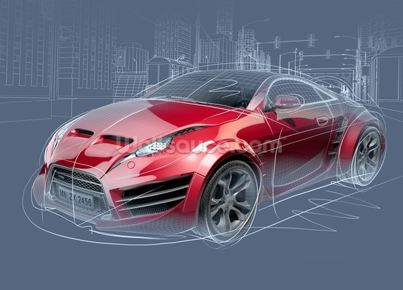 Sports Car Sketch wallpaper mural
