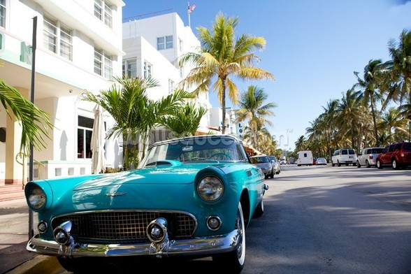 Miami Classic Car mural wallpaper