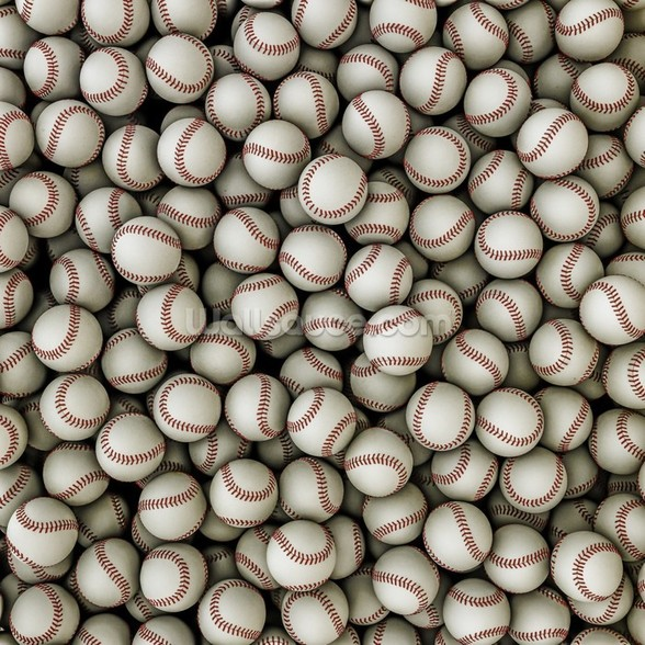 Baseballs background mural wallpaper