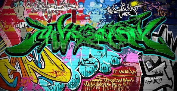 Graffiti Art Vector Background. Urban wall wallpaper mural