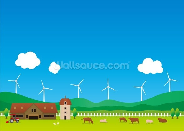 Cartoon Wind Farm wallpaper mural