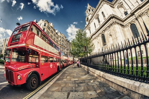 Red Double Decker Bus wall mural