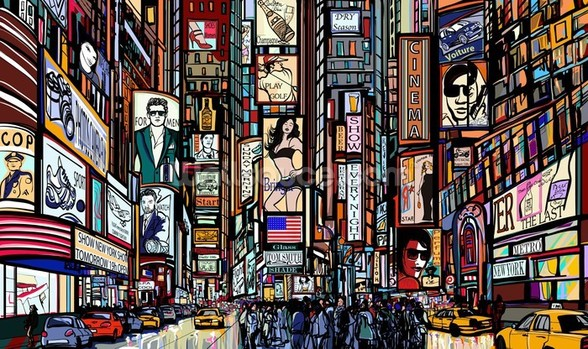 Times Square Abstract wall mural