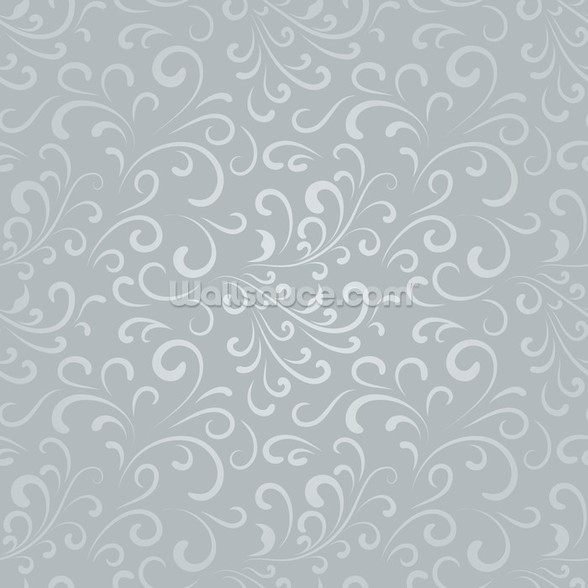Floral Pattern - Grey wall mural