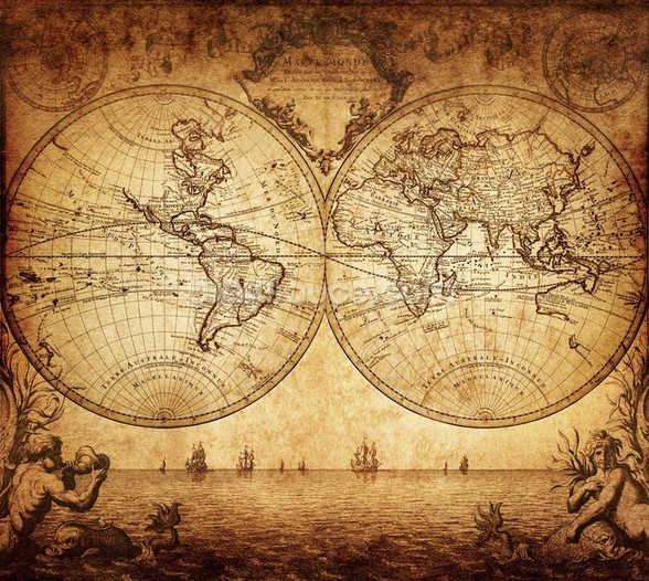 18th Century World Map wall mural