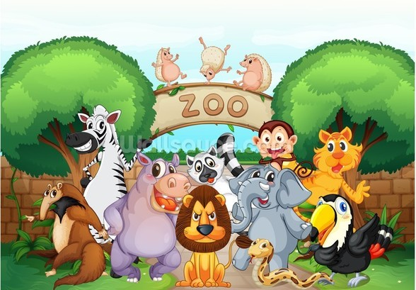 Animal Zoo wallpaper mural