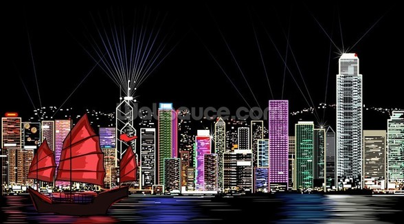 Hong Kong by Night Retro wall mural