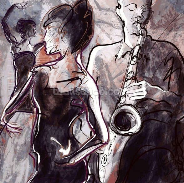 Jazz Band and Dancers mural wallpaper