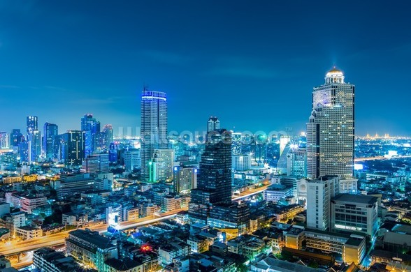 Bangkok Cityscape at Night mural wallpaper