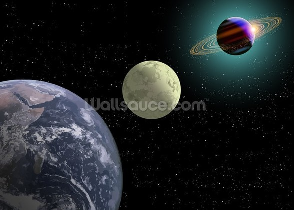 Earth Moon And Saturn With A New Sun wall mural