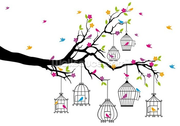 Tree with Birdcages wall mural