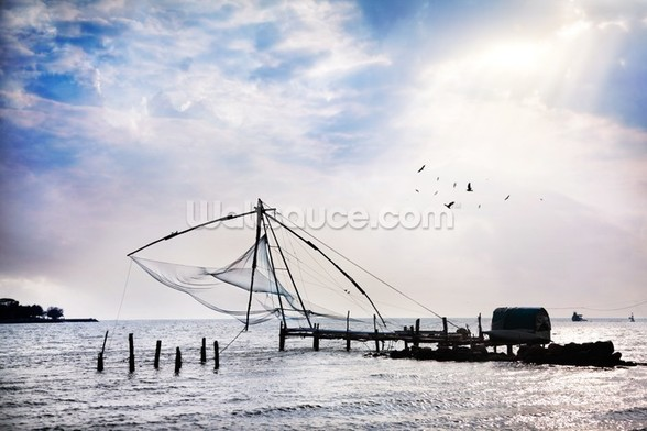 Chinese Fishing Net mural wallpaper
