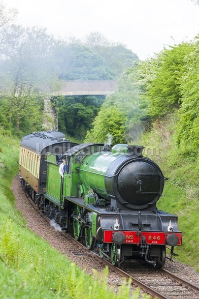 Steam Train in Countryside mural wallpaper