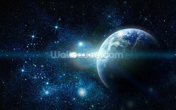 Realistic Planet Earth in Space wallpaper mural