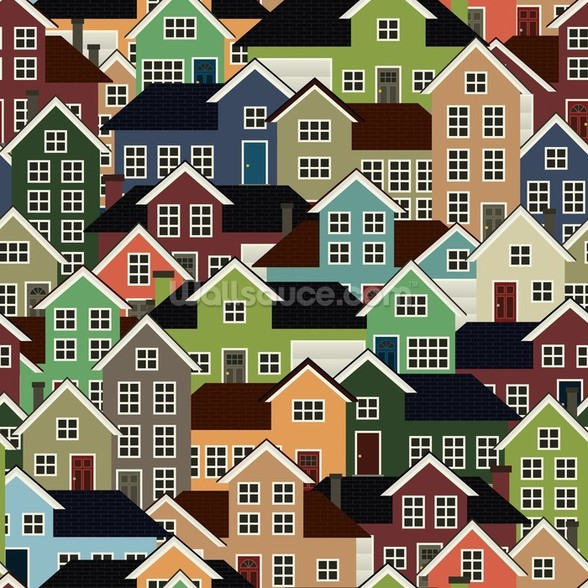 Colourful Town mural wallpaper