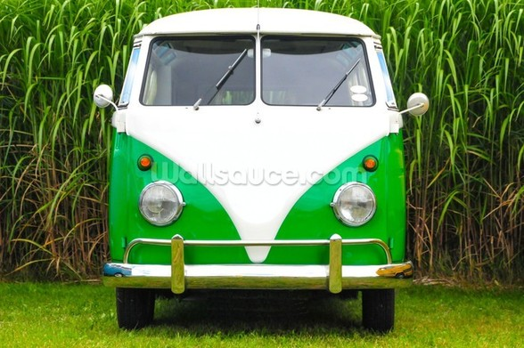 Green VW Camper wall mural