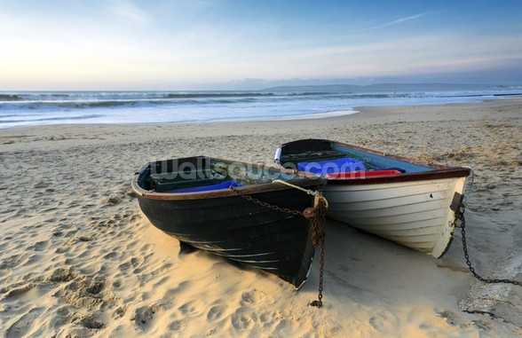 Fishing Boats on the Beach mural wallpaper