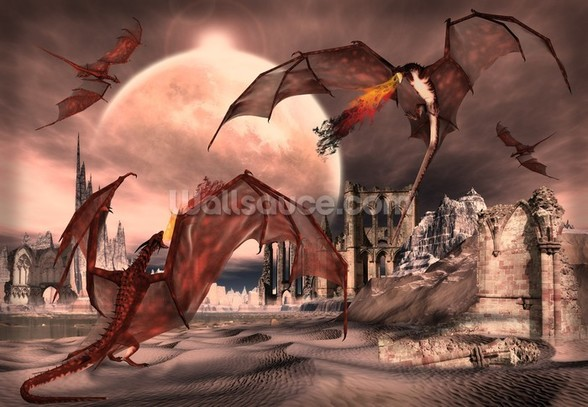 Fantasy Scene With Fighting Dragons wall mural