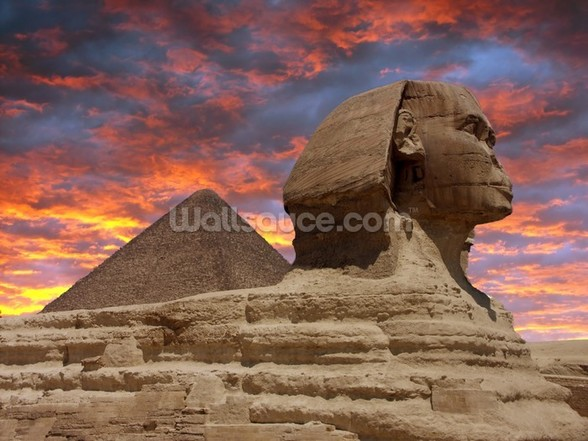 Pyramid and Sphinx at Sunset wallpaper mural