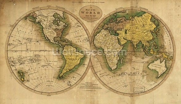 Old Map of the World wallpaper mural