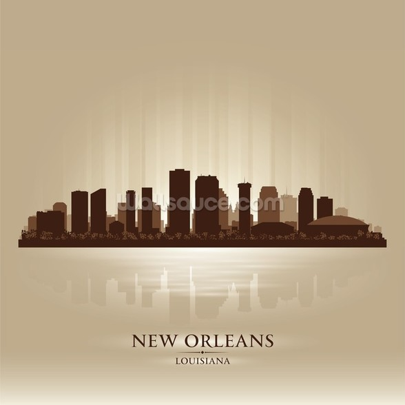 New Orleans Abstract Skyline mural wallpaper