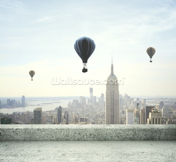 Air balloon on sky mural wallpaper