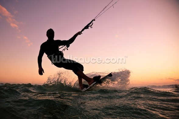 Kite boarding. Kitesurf freestyle wallpaper mural