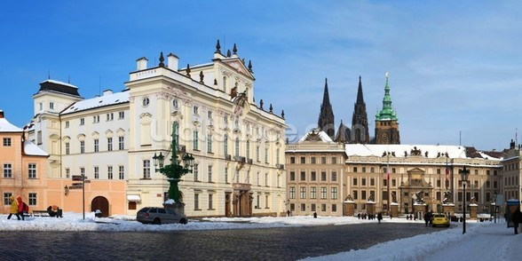 Prague Castle and Archbishops Palace wall mural