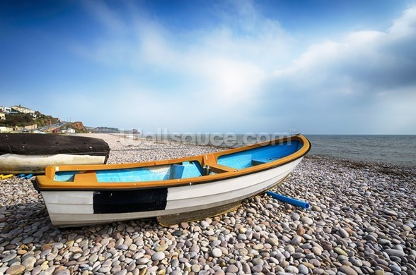 Boats at Budleigh Salterton wall mural