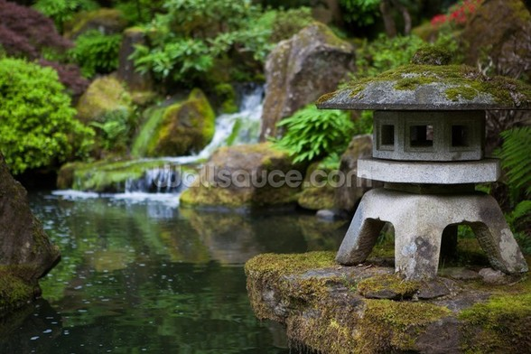 Japanese Garden Rock Lantern mural wallpaper