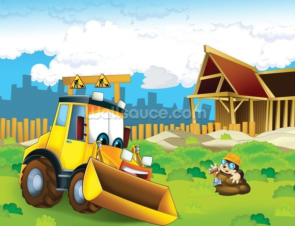 Cartoon Digger mural wallpaper