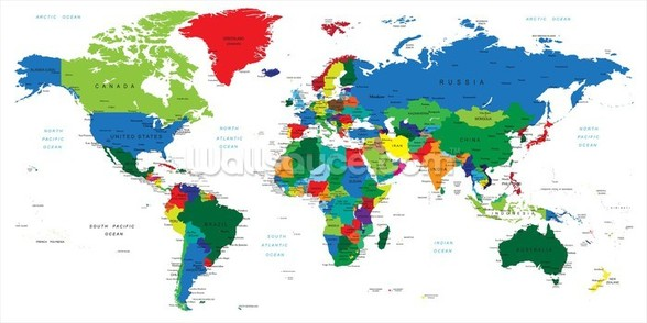 Bright World Map wall mural