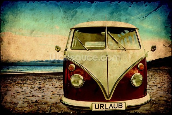 VW Camper on the Beach wall mural