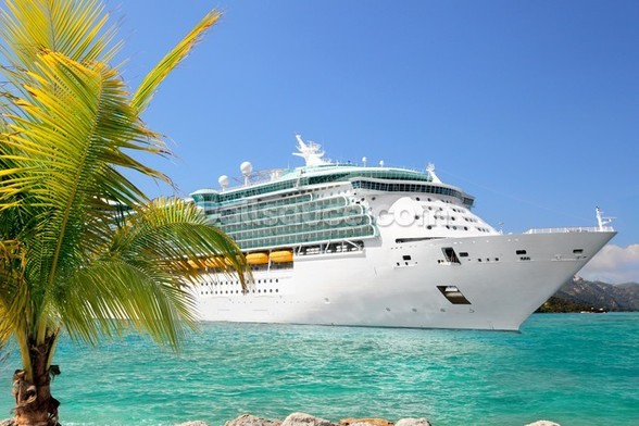 Luxury Cruise Ship Sailing from Port wall mural