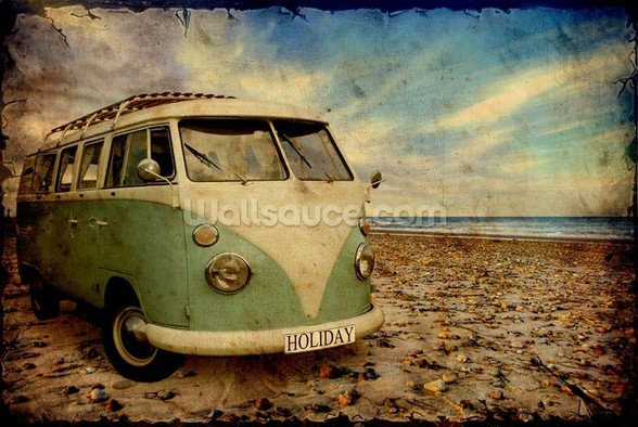 Green VW Camper on the Beach wall mural