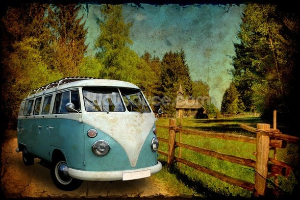 VW Camper Blue wall mural