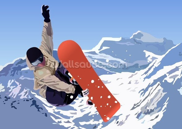 Snowboarder mural wallpaper