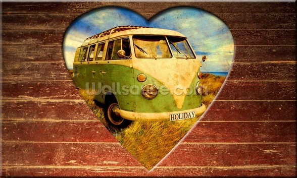 VW Camper Green and White wall mural