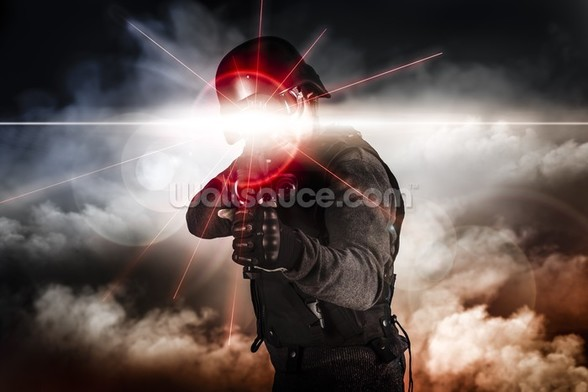 Soldier aiming assault rifle laser sight wall mural
