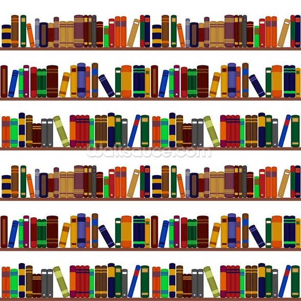 Bookshelf Illustration wallpaper mural
