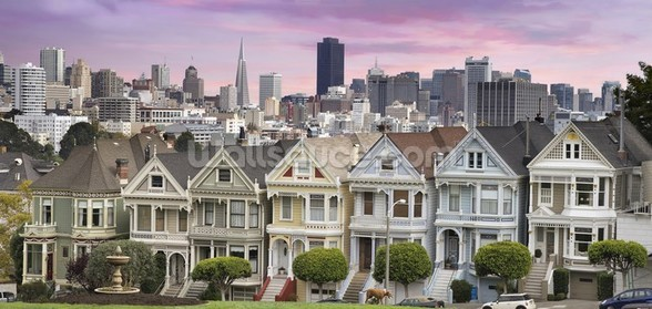 San Franciso Houses mural wallpaper
