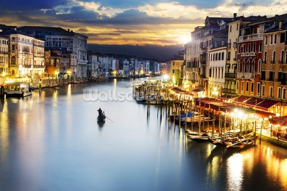 Grand Canal at Night, Venice wall mural