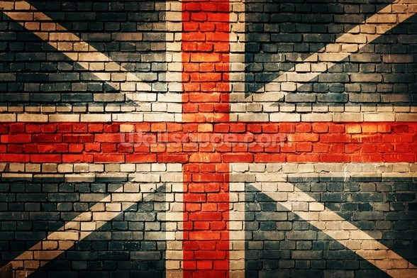 Union Jack on Old Brick wall mural