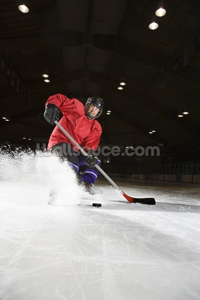 Woman playing hockey. wall mural