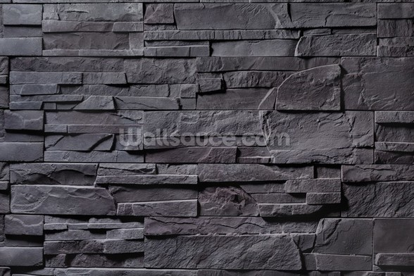 Stone Wall - Charcoal Grey mural wallpaper