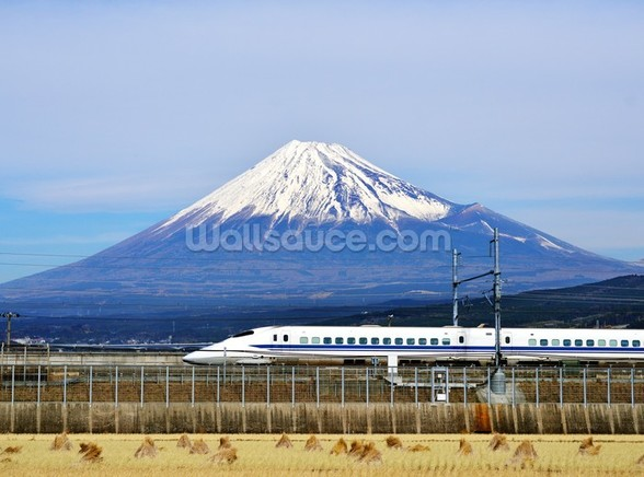 Mt. Fuji and the Bullet Train mural wallpaper