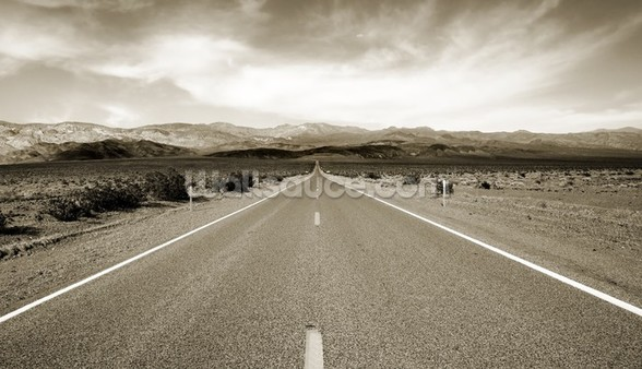 Empty Californian Highway in the Desert mural wallpaper