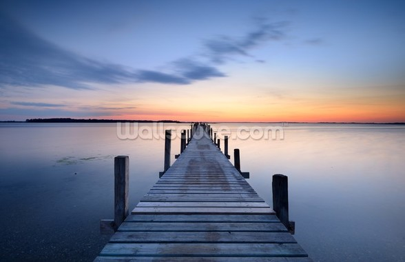 Wooden Jetty Sunrise wall mural