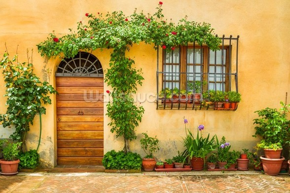 Beautiful Village House, Italy wall mural