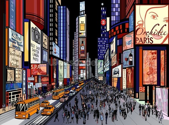 New York - Night View of Times Square wall mural